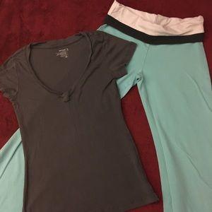 Gray Shirt / Teal Pants Outfit